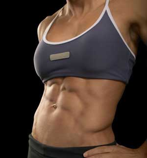 fit woman showing her abs
