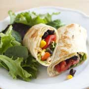 black bean and corn wrap lunch