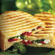 grilled goat cheese and tomato panini sandwich