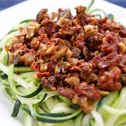 cold zucchini pasta with sundried tomatoes and black olives