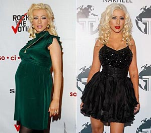 christina Aguilera before and after losing baby weight
