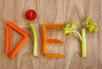 Diet written out with vegetables