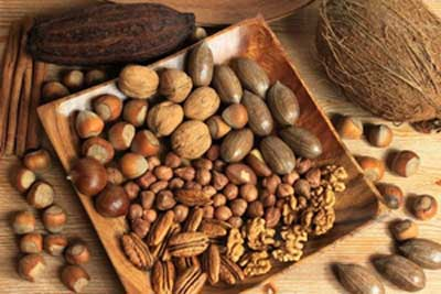 dish containing a variety of healthy nuts